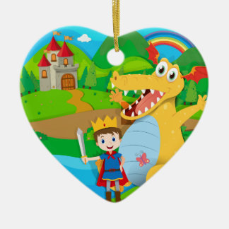 Knight and dragon on the fairy land christmas ornament