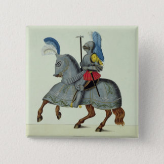 Knight and horse in armour, plate from 'A History 15 Cm Square Badge