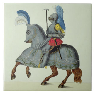 Knight and horse in armour, plate from 'A History Tile