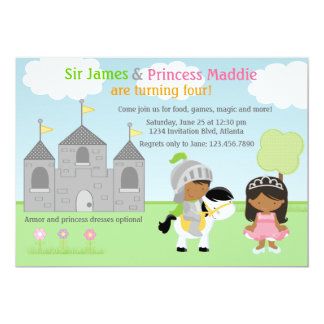 "Knight and Princess Twins Joint Party Invitation 5"" X 7"" Invitation Card"