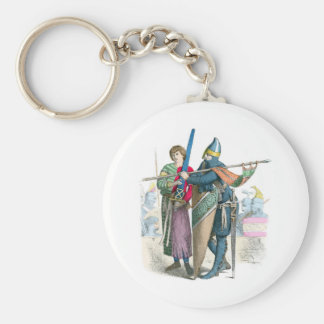 Knight and Squire - Period Costumes Basic Round Button Key Ring