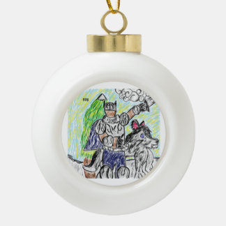 knight and wolf 2 ceramic ball christmas ornament