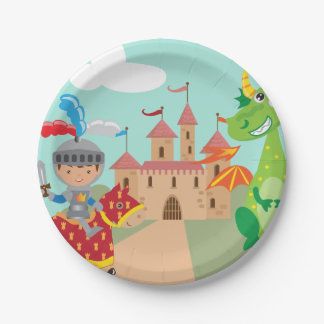 Knight Castle and Dragon 7 Inch Paper Plate