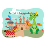 Knight Castle and Dragon Birthday Invite