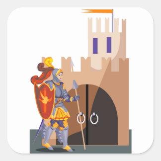 Knight Castle Square Sticker