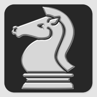Knight Cool Metallic Chess Piece Square Sticker