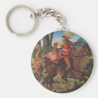 Knight, Death and girl by Hans Baldung Basic Round Button Key Ring
