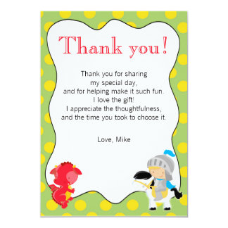 Knight Dragon Yellow Green Thank You Card