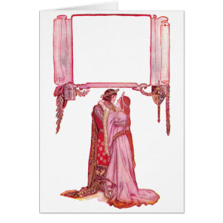 Knight Embracing Lady Love Greeting Card