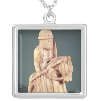 Knight from a chess set silver plated necklace