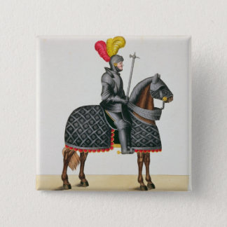 Knight in armour on his horse, plate from 'A Histo 15 Cm Square Badge