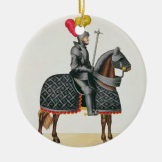 Knight in armour on his horse, plate from 'A Histo Christmas Ornament