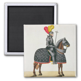 Knight in armour on his horse, plate from 'A Histo Magnet