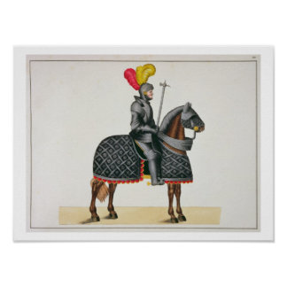 Knight in armour on his horse, plate from 'A Histo Poster