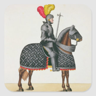 Knight in armour on his horse, plate from 'A Histo Square Sticker