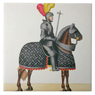 Knight in armour on his horse, plate from 'A Histo Tile