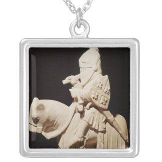Knight in armour on his horse silver plated necklace
