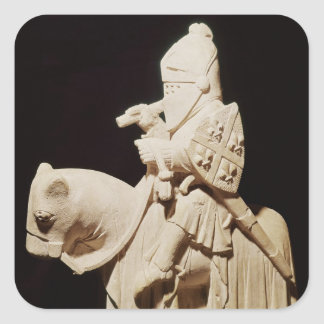 Knight in armour on his horse square sticker