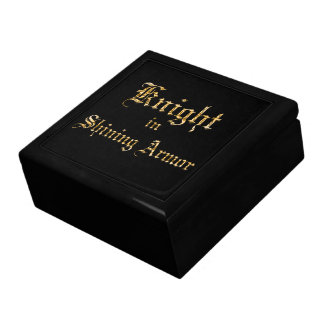 Knight in Shining Armor Fauz Gold Text Large Square Gift Box