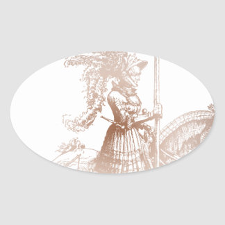 Knight in Shining Armor Oval Stickers