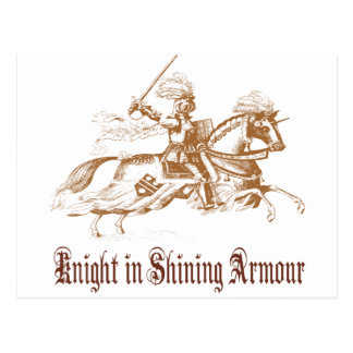 knight in shining armour postcard