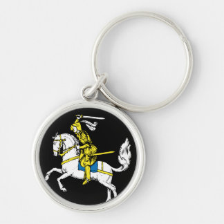 Knight in Yellow Armour Silver-Colored Round Key Ring