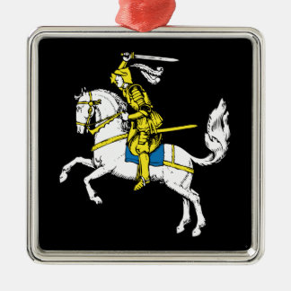 Knight in Yellow Armour Silver-Colored Square Decoration
