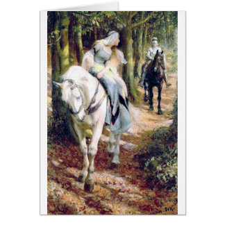 Knight lady white horse medieval romantic card