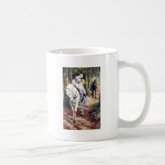 Knight lady white horse medieval romantic coffee mug