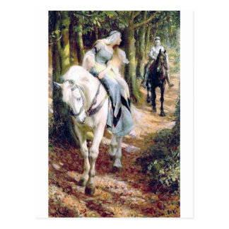 Knight lady white horse medieval romantic postcard