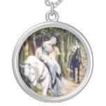 Knight mediaeval lady white horse romantic round pendant necklace