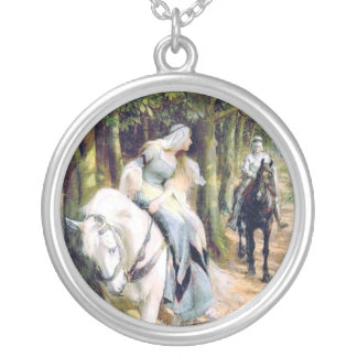Knight medieval lady white horse romantic silver plated necklace