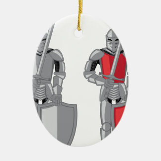 Knight metal red vector ceramic oval decoration