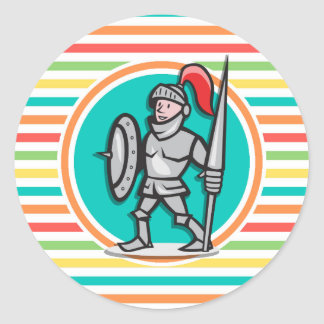 Knight on Bright Rainbow Stripes Round Stickers