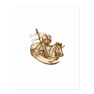 Knight On Horse Holding Flag Drawing Postcard