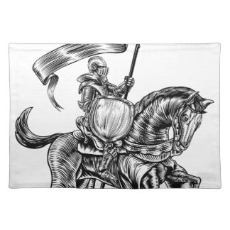 Knight on Horse Vintage Woodcut Engraving Placemat