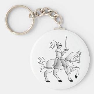 Knight On Horseback Basic Round Button Key Ring