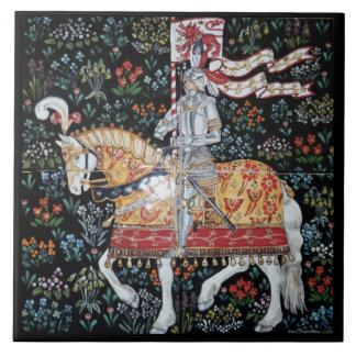 Knight on Horseback Montacute Tapestry Tile Trivet