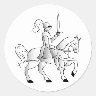 Knight On Horseback Round Sticker