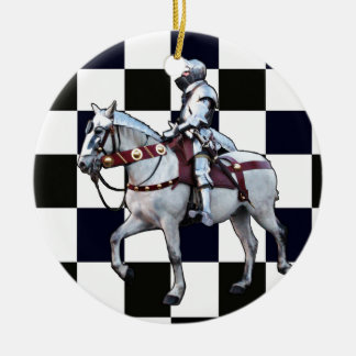 Knight on white horse with Chess board Christmas Ornament