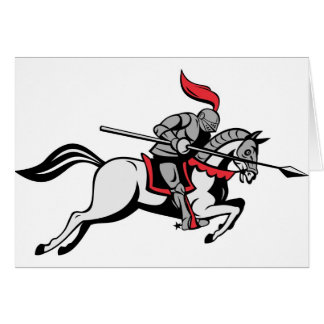 knight rider riding horse retro greeting cards