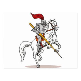 knight rider riding horse retro post card