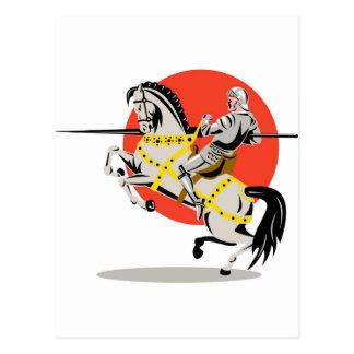 knight rider riding horse retro postcard