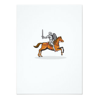 Knight Riding Horse Cartoon 14 Cm X 19 Cm Invitation Card