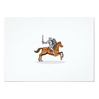 Knight Riding Horse Cartoon 13 Cm X 18 Cm Invitation Card