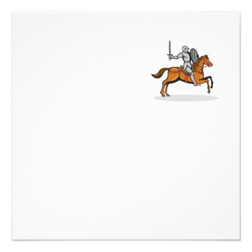 Knight Riding Horse Cartoon Personalized Invite