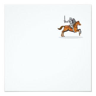 Knight Riding Horse Cartoon 13 Cm X 13 Cm Square Invitation Card