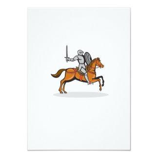 Knight Riding Horse Cartoon 11 Cm X 16 Cm Invitation Card
