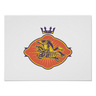 Knight Riding Horse Lance Retro Posters