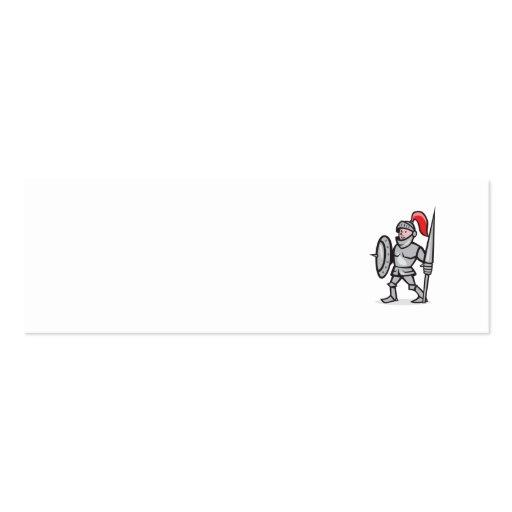 Knight Shield Holding Lance Cartoon Business Card Templates